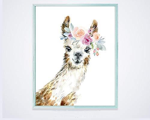 AQjept DIY Pintar por números Linda Alpaca Pintura al óleo de Bricolaje, Pintura de Pinturas acrílicas en Lienzo para Adultos y niños Principiantes
