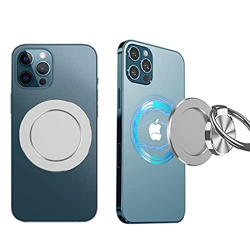 Base Magnetica per Telefono Compatibile con MagSafe iPhone 12/12 pro/12 PRO max/12 Mini, Ventosa Magnetica Rimovibile Mag-Safe Accessori per Presa Presa Presa Telefono Anello Titolare (Argento)