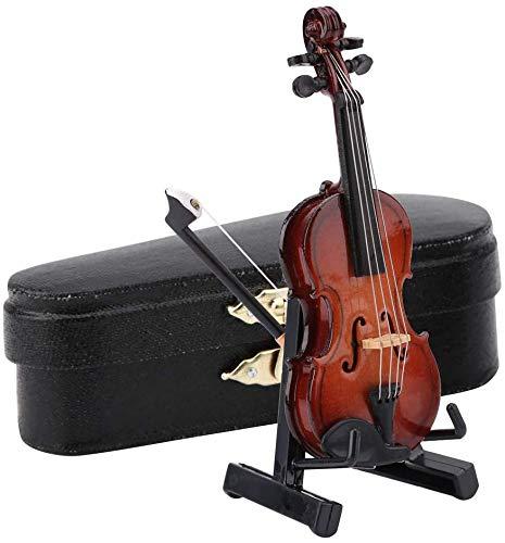 Hztyyier Modelo de violín para Sala de Estar Familiar colección de decoración con Soporte Instrumentos Musicales y Caja de Regalo de Madera Premium Negra