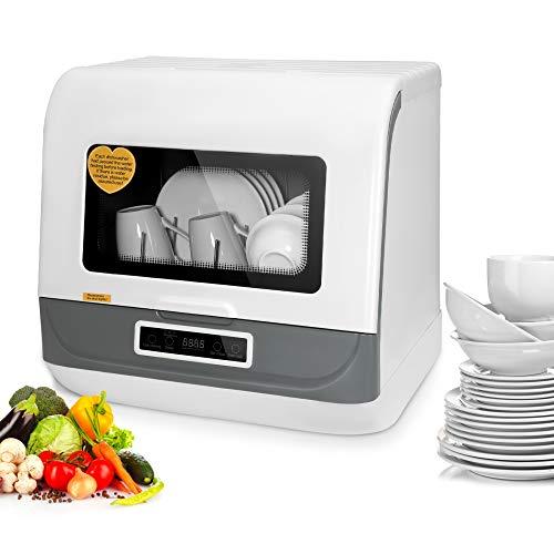 Kacsoo Lavastoviglie da appoggio automatico portatile, mini lavastoviglie, 3 modalità di lavaggio 1200 W, design turbo, risparmio energetico, risparmio idrico, anti-scalabilità