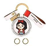 Hikeman Handmade Leather Keychain for Women, Cute Key Ring for Car Key Holder Super Gifts for Family Birthday Christmas White