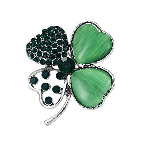 ROTOOY Delicados Diamantes de imitación Verdes Hojas alfileres de Solapa Vestido Abrigo decoración Accesorios de joyería-Plata