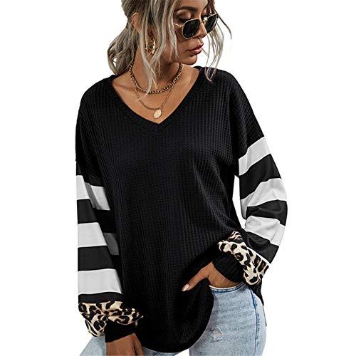 XLKJ V-Neck Sweatshirt Women Striped Leopard Stitching Hoodies Autumn Long-Sleeve Top Female Loose Sweatshirts Casual Hoodie Black