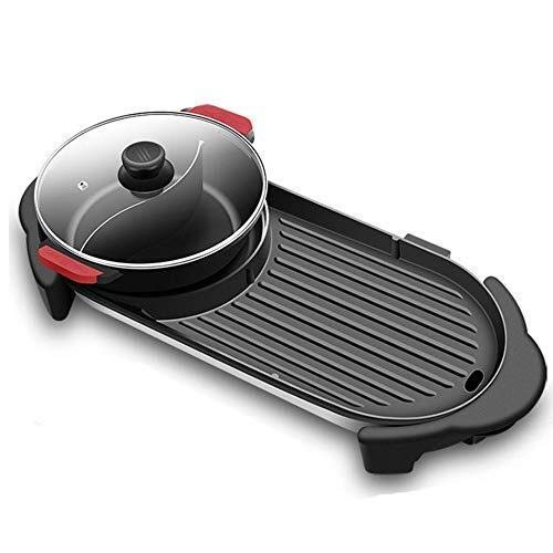 Elektrische Grill, Household Rookvrije gemakkelijk schoon te maken vis film, Two-in-one Multifunctionele Electric Hot Pot Barbecue Shabu Shabu-elektrische barbecue dsfhsfd