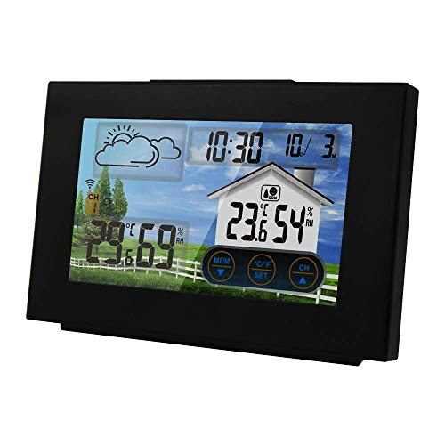 INSHERE Wireless Weather Station Indoor/Outdoor Thermometer (Multifunctional/New Model) 3551a Touch Color Screen Weather Forecast Alarm Clock