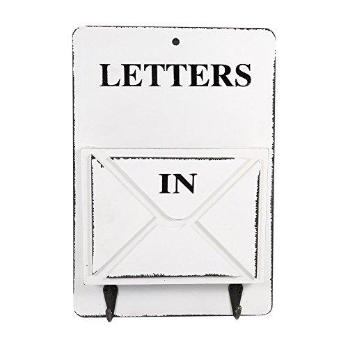 レターフック レター収納フック 壁掛けレターラック カード収納ボックス ネジで壁掛け 状差し 手紙入れ 北欧風 フック付き 小物 片付け 鍵 カード インテリア(ホワイト)