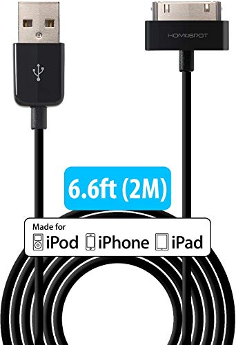 HomeSpot 30 Pin auf USB Kabel, USB auf 30 Polig Dock Connector, Ladekabel, Sync-Kabel, Datenkabel kompatibel mit iPhone 4, iPhone 4S, iPad 1/2/3, iPod Touch, Nano, Docking Station 2 Meter Lang (Schwarz)