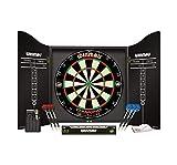 WINMAU Professional Dart Set includes Diamond Plus Bristle Dartboard - Black Cabinet - 2 Sets of Darts - Official Oche Line