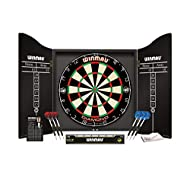 Diamond Plus Bristle Dartboard - Tournament approved specification dartboard Darts - Precision profile barrels with nylon shafts and Mega Standard flights Cabinet - High quality veneer-effect cabinet Also comes with Oche Line - Official throw line th...