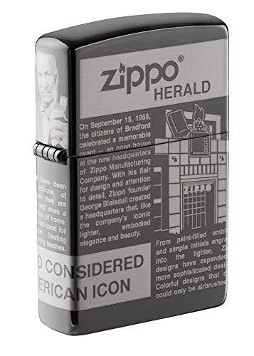 Zippo Taschenfeuerzeug mit Zeitungsmotiv.