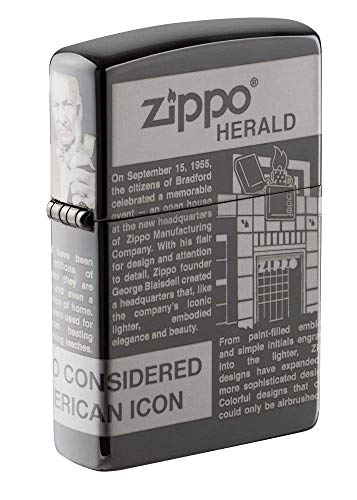 Zippo Logo Design Feuerzeuge, Unisex-Erwachsene, Newsprint Design Pocket Lighter, Black Ice Newsprint, One Size