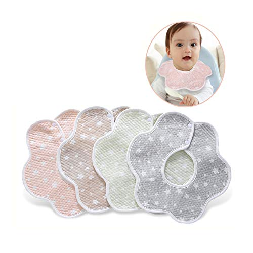 Bavaglini, Bavaglino neonato, 4 pezzi Bavaglino confortevole in cotone morbido Bavaglino con bretelline Bambino che allatta Saliva Asciugamano Unisex