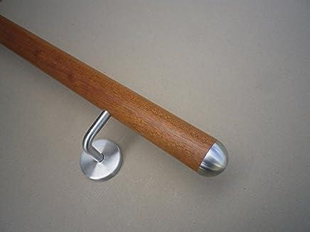 L/änge 30-500 cm aus einem St/ück//zum Beispiel L/änge 210 cm mit 3 gewinkelte Halter Mahagoni Gel/änder Handlauf Treppe Holz Griff gewinkelte Edelstahlhalter Enden =Radius gefr/äst