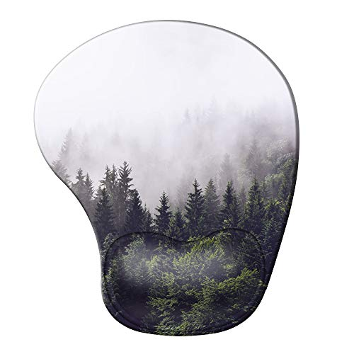 iCasso Ergonomic Mouse Pad with Gel Wrist Rest Support, Pain Relief Wrist Rest Pad with Lycra Cloth, Non-Slip PU Base, Easy Typing Mouse Pad for Office, Home, Laptop, Computer - Forest