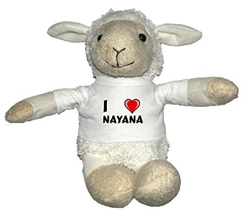 Oveja blanco de peluche con Amo Nayana en la camiseta (
