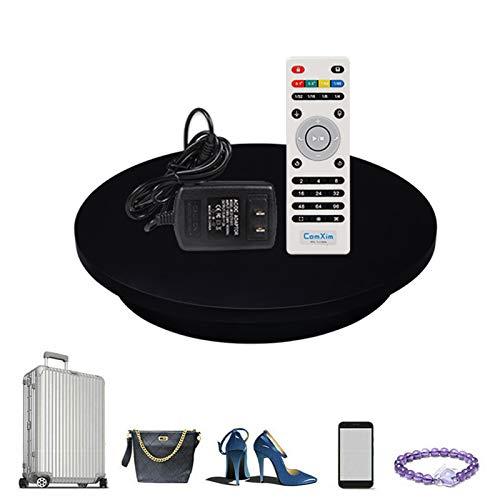 YSJX Piattaforma Rotativa,Nero Piatto Girevole Rotante Elettrico per la Fotografia Video per Immagini a 360 Gradi,Regolabile Girevole velocità,Alimentazione a Batteria/USB