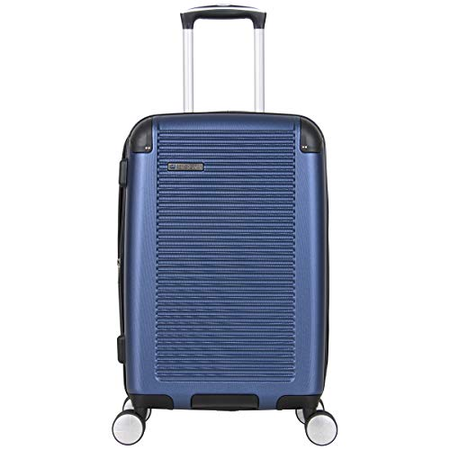 Ben Sherman Norwich Collection Lightweight Hardside PET Expandable 8-Wheel Spinner Luggage, Indigo, 20-Inch Carry-On