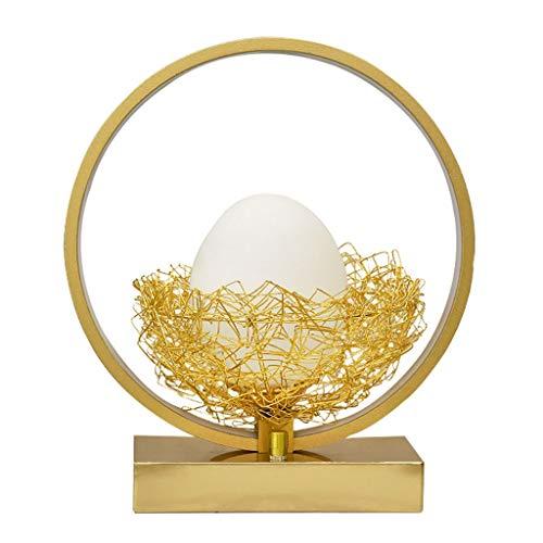 Lámparas de Mesa Lampara mesita noche Lámpara de cabecera del dormitorio Marco creativo lámpara de mesa redonda de oro de aluminio y vidrio en forma de huevo de mesa LED Pantallas de iluminación de la