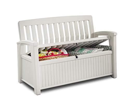Koll Living Gartenbank mit 227 Liter Stauraum - bietet Platz für allerhand Utensillien wie Sitzauflagen, Spielzeug oder Gartengeräte - aus UV-beständigem Kunststoff - Belastbar bis 272 kg (Weiß)