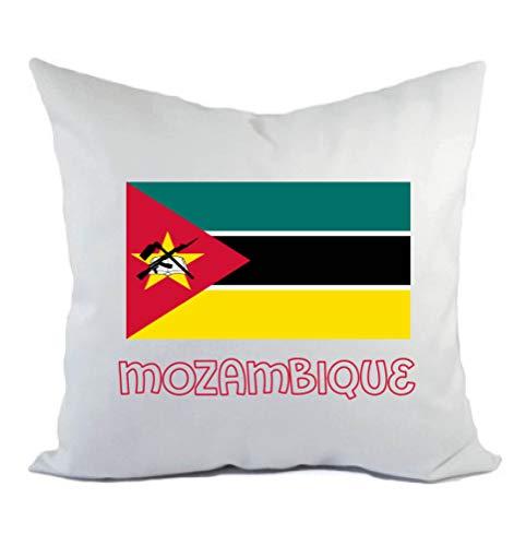 Typolitografie Ghisleri kussen wit Mozambique met vlag kussensloop en vulling 40 x 40 cm van polyester