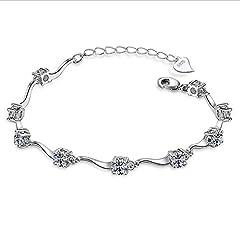 Idea Regalo - Braccialetto donna ragazza con cristalli in argento con zirconi lucenti bambù bracciale argento misura regolabile