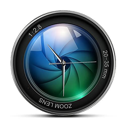 Usmnxo 12 Pollici (30 cm) Obiettivo della Fotocamera Orologio da Parete Fotografia Immagine Zoom Esposizione istantanea Decorazione Selfie Orologio da Parete Moderno Senza Cornice