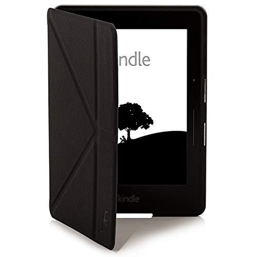 Forefront Cases Kindle Voyage Shell Coquille Origami Smart Case Étui Housse Coque Cover Stand - Ultra Mince Léger Protection complète de l'appareil - Smart Auto Veille/Réveil + Stylet (Noir)