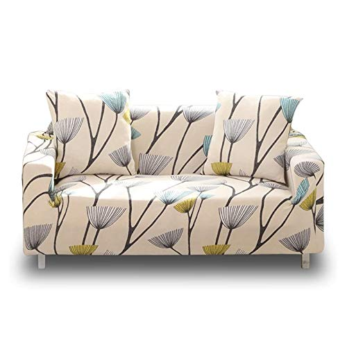 Lamberia Printed Sofa Cover Stretch Couch Cover Sofa Slipcovers for 4 Cushion Couch with Two Free Pillow Case (Dandelion, Sofa 4 Seater)