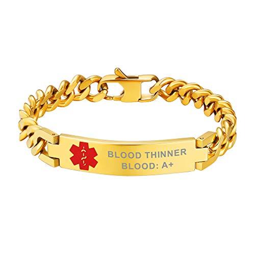 Supcare Cruz Roja Alerta Médica Personalizable Pulsera Medical de Identificación con Tag Acero Inoxidable Grabado Gratis Joyería Accesorio de Muñeca para Hombres y Mujeres