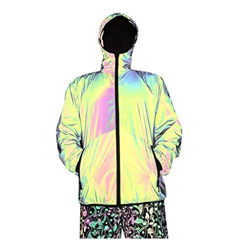 Sunuwill Herren Kapuzenpullover Winterjacke Hoodie Sweatshirt Pullover V Ausschnitt Parka Warm Mit ReißVerschluss Paar Colorfu Reflektierende Kleidung Nnight Running Hip Hop Jacket