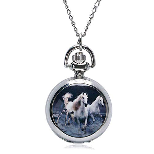 GOHHK Vintage Pocket watch Classical Fashion Retro Silver Enamel Galloping Horses mini Mirror Pocket Watch necklaces