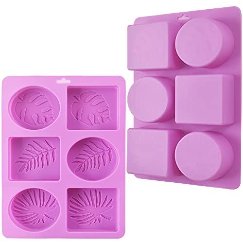 ionEgg Molde rectangular y ovalado de silicona para jabón con patrones de hojas, paquete de 2