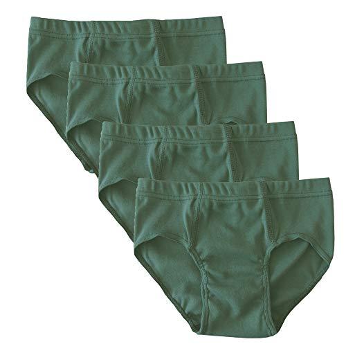 HERMKO 2850 4er Pack Jungen Slip einfarbig aus 100% Bio-Baumwolle mit Dehnbund, Farbe:Olive, Größe:140