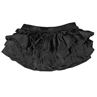 juDanzy Ruffle Chiffon or Satin Tutu All Around Bloomer Diaper Cover (0-6 Months, Black Satin)
