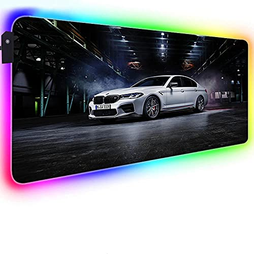 Mouse Pads White Car in Parking Lot LED Lighting RGB Gaming Mouse Pad Non-Slip Rubber Base Extended Large Mouse Mat for PC 27.6x11.8 inches