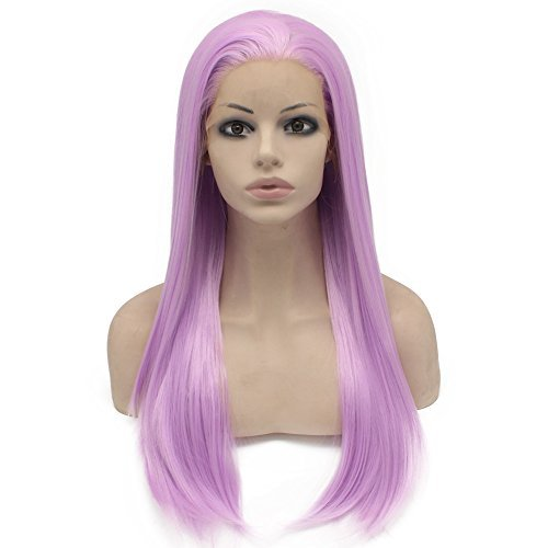 Mxangel Long Light Purple Straight Synthetic Lace Front Wig Heat Resistant
