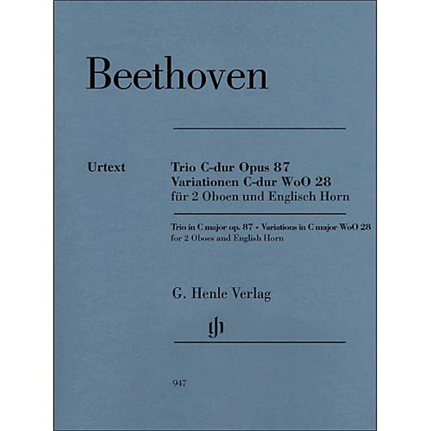 Trio In C Major Op. 87 Variations In C Major Woo28 for 2 Oboes And English Horn By Beethoven/Voss