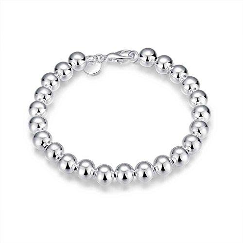 LUFA Bracciale in argento a forma di palla rotonda placcato argento femminile con colore solido