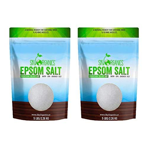 Epsom Salt by Sky Organics (5 lbs.) - 100% Pure Magnesium Sulfate USP Grade Kosher Non-GMO – Bath...