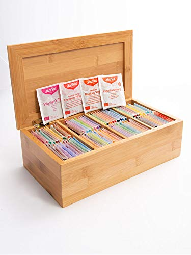 Yogi Tea Tee-Kiste aus Holz mit 48 leckeren Yogi-Tee-Sorten I jeweils 2 Teebeutel pro Sorte I echte Bio-Tee-Qualität I exklusives Probier-Set in der Yogi-Tee-Holz-Box I Geschenk-Set Tee-Mix 96 Beutel