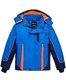 Wantdo Kid's Softshell Snow Jacket Fleece Lined Warm Coat Waterproof Jacket Windproof Blue 8