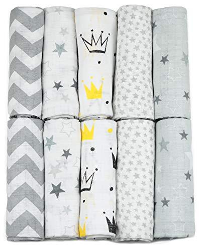 Mulltücher - Mullwindeln - 10er Pack 70x80 cm - Stoffwindeln, MADE IN EU, schadstoffgeprüft -Spucktücher für Jungen und Mädchen– Baby Mullwindeln- Grau – Sternchen