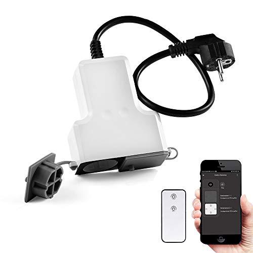 Alexa Outdoor Steckdose - Wasserdichte Wifi Steckdose, Smart Steckdose mit 2 Intelligente Plug, Kompatibel mit Alexa, Google Home und IFTTT (50cm Extra langes Kabel)