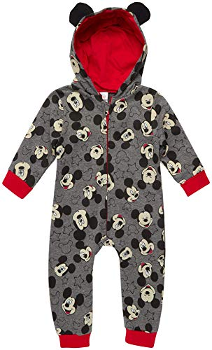 Disney Baby Boys' Pajamas - One Piece Plush Long Sleeve Hooded Sleep and Play Onesie Coveralls, Mickey Grey Face, Size 24 Months