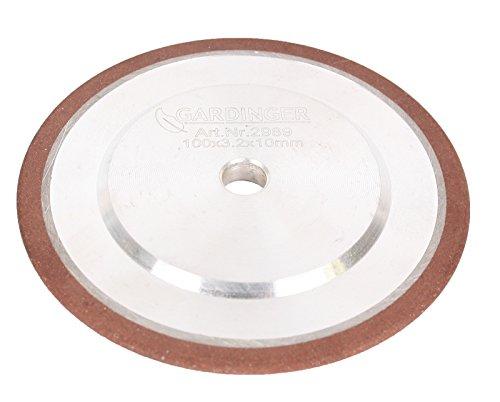 GARDINGER Diamant-Schleifscheibe für Sägekettenschärfgeräte 100 x 3,2 x 10 mm (Diamantscheibe Schleifscheibe)