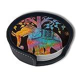 BJAMAJ - Posavasos Redondos de Piel sintética con diseño de árbol de Elefantes Coloridos con Soporte, Apto para el hogar y la Cocina (6 Unidades)