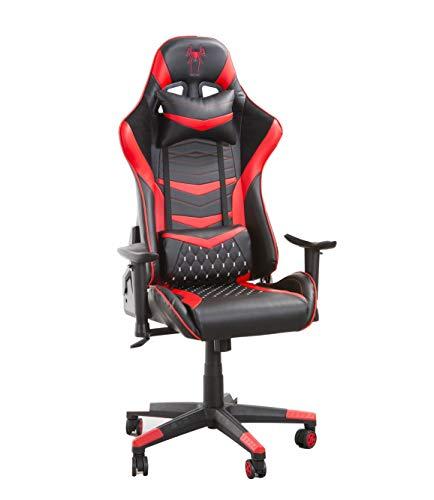 Home Heavenly®- Silla Gaming Boss, Silla de Oficina, Escritorio, sillón Gamer ergonómico, Giratorio con Cojín Reposabrazos 2D Ajustables Respaldo Reclinable (Rojo)