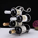 Zpong Silber S-förmige Vier Flaschen Perlenflocken Weinregal 17 * 15 * 29,5 cm, Schmiedeeisen Creative Display Rack Weinflaschenregal Home