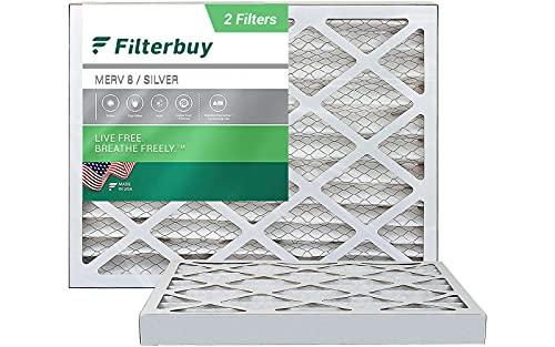 FilterBuy 16x20x2 Air Filter MERV 8, Pleated HVAC AC Furnace Filters (2-Pack, Silver)