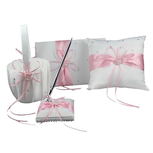 Pink Four Wedding Accesorries Sets High Quality Wedding Guest Book +Pen Set +Flower Girl Basket + Ring Pillow, Double Hearts Rhinestone Elegant Wedding Ceremony Party Favor Sets